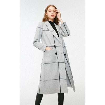 bohochicclothing Jackets URBAN PLAID STRAIGHT TUBE OVERCOAT boho  chic clothing