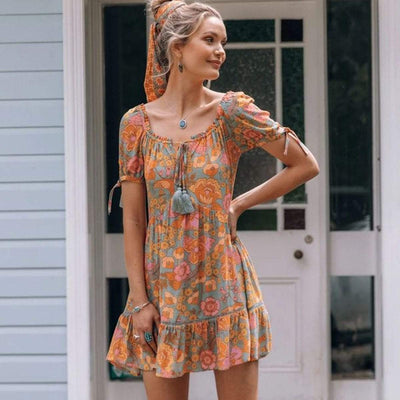 bohochicclothing Jastie Summer Tie Front V Neck Dress Sexy Floral Print Mini Dresses Women Short Sleeve Floral Print Dress Casual Beach Dresses boho  chic clothing