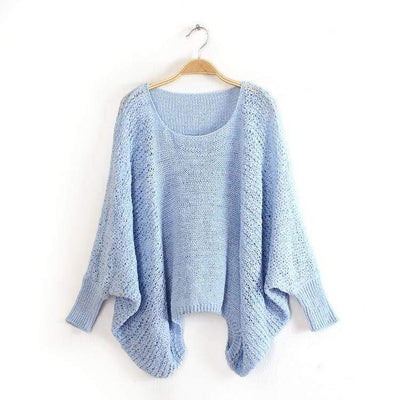 bohochicclothing Loose Crew Neck Batwing Sleeve Boho Sweater boho  chic clothing