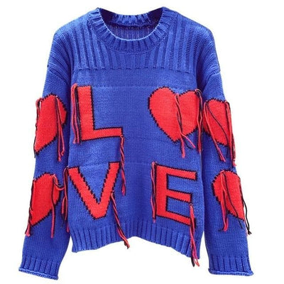 Love Embroidered Sweater - Boho Chic Clothing