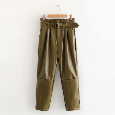 bohochicclothing Pants & Capris LEATHER PAPERBAGE PANTS boho  chic clothing