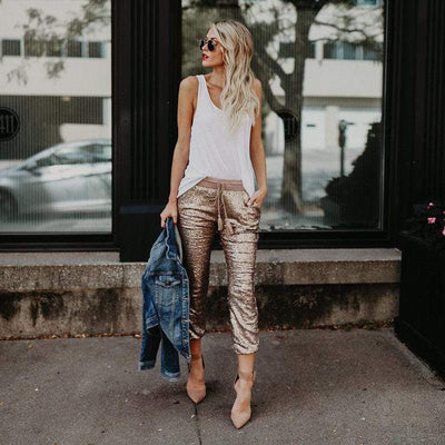 Appliques Glitter Skinny Pants | Boho Chic Clothing