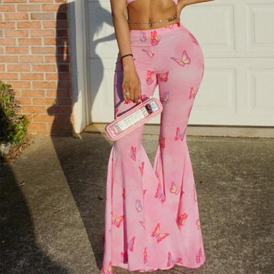Pink Butterfly Print Flare Pants