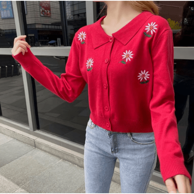 bohochicclothing Red Lapel Sweater boho  chic clothing