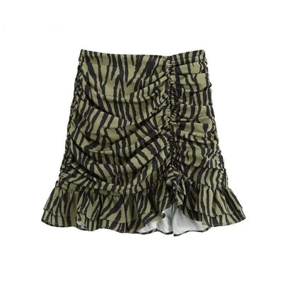 Animal Pleated Ruffle Skirt