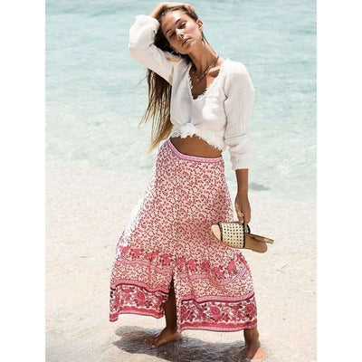 bohochicclothing Skirts FLORAL MAXI SKIRT boho  chic clothing