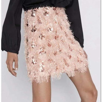 Sequin Skirt In Rose Gold