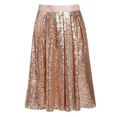 Shiny Sequin Knee Length Skirt