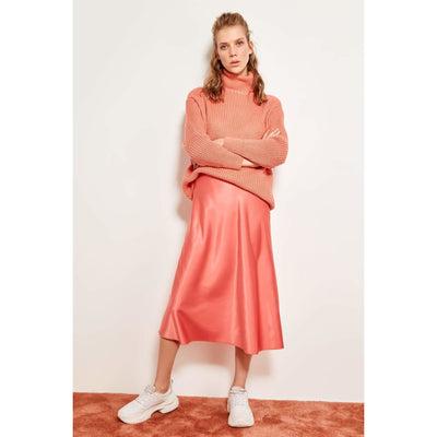 Knees Satin Midi Skirt with matching white sneakers