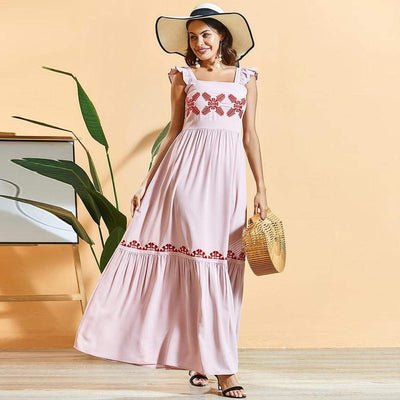 bohochicclothing Sweet Pink Pleated Embroidered Dress boho  chic clothing