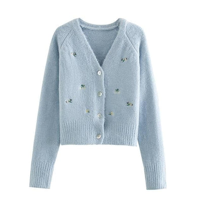 bohochicclothing Vintage flower Embroidered Knitted Cardigan boho  chic clothing