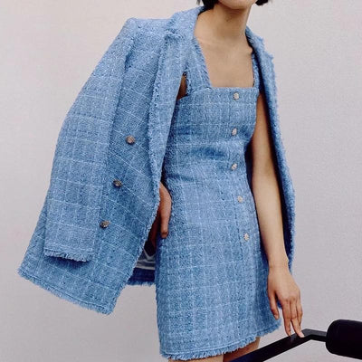 Tweed Women Elegant Blue Blazers WITH MODEL