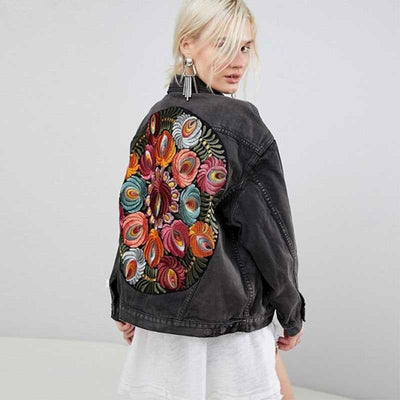 Vintage Floral Embroidery Denim Jacket