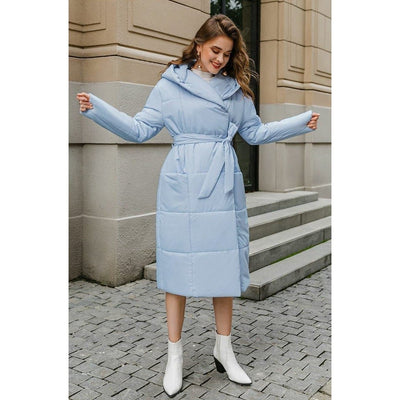 Casual Light Blue Autumn Winter Women model with matching white boots