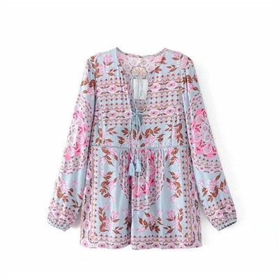 Bohemian Floral Print Tunic Blouse full front view