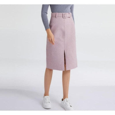 Pencil Skirt With Elegant Belt wearing white sneakers