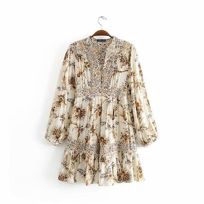 Bohemian Floral Print Tunic Dress in a hanger