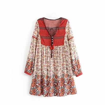 Vintage Floral V Neck Mini Dress white red front view