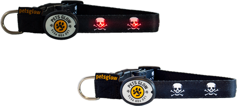 Skull 'n' Bones LED Dog Collar