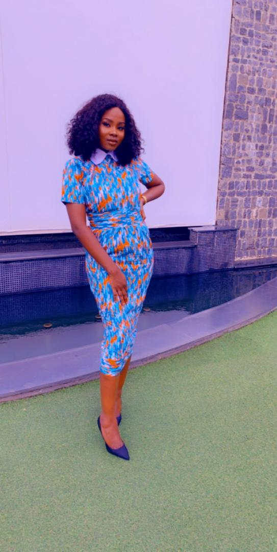 Blu African Print Matching Blouse and Pencil Skirt