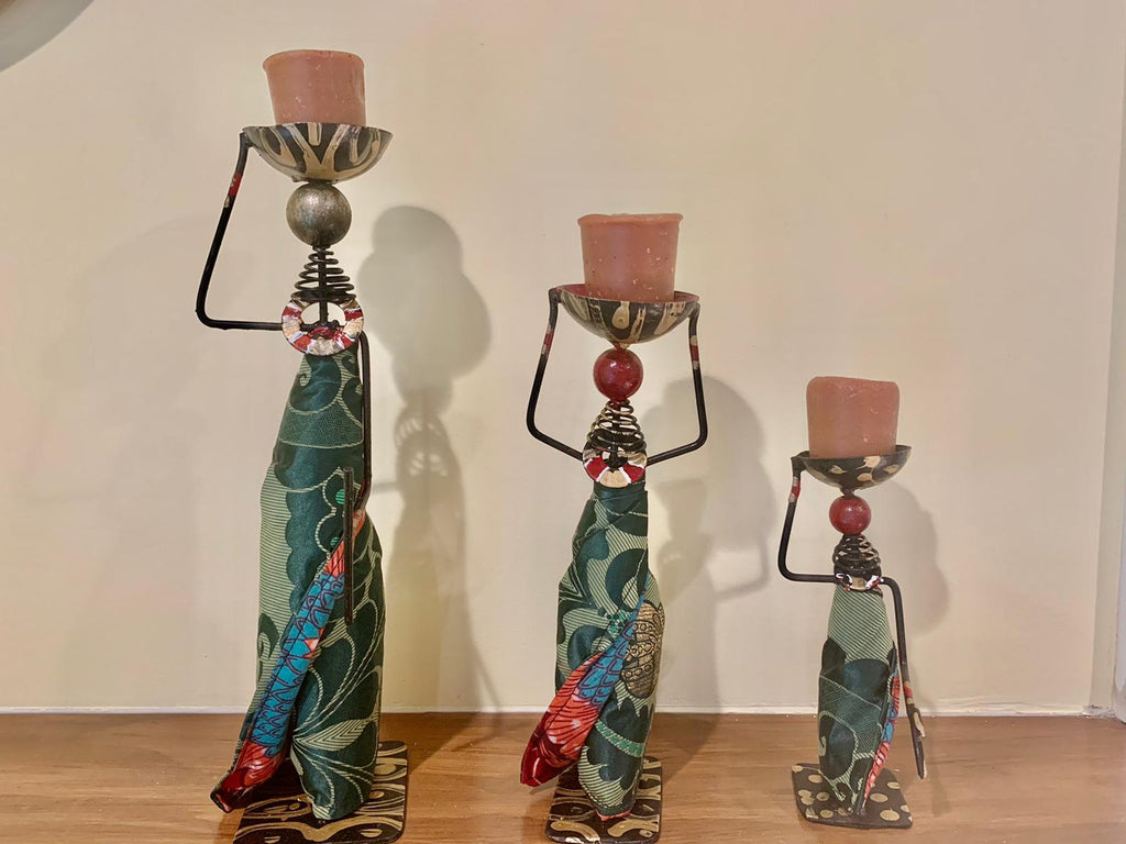 African Tribal Lady Candle Holder Centerpieces (Family Series) Set of 3