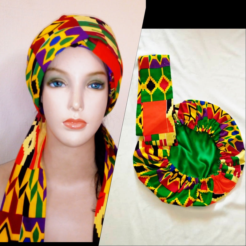African Print Bonnet with Ropes