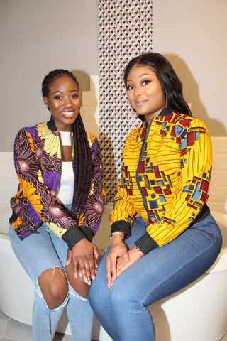 Lapis Lazuli African Print Reversible Bomber Jacket (Red/Yellow)