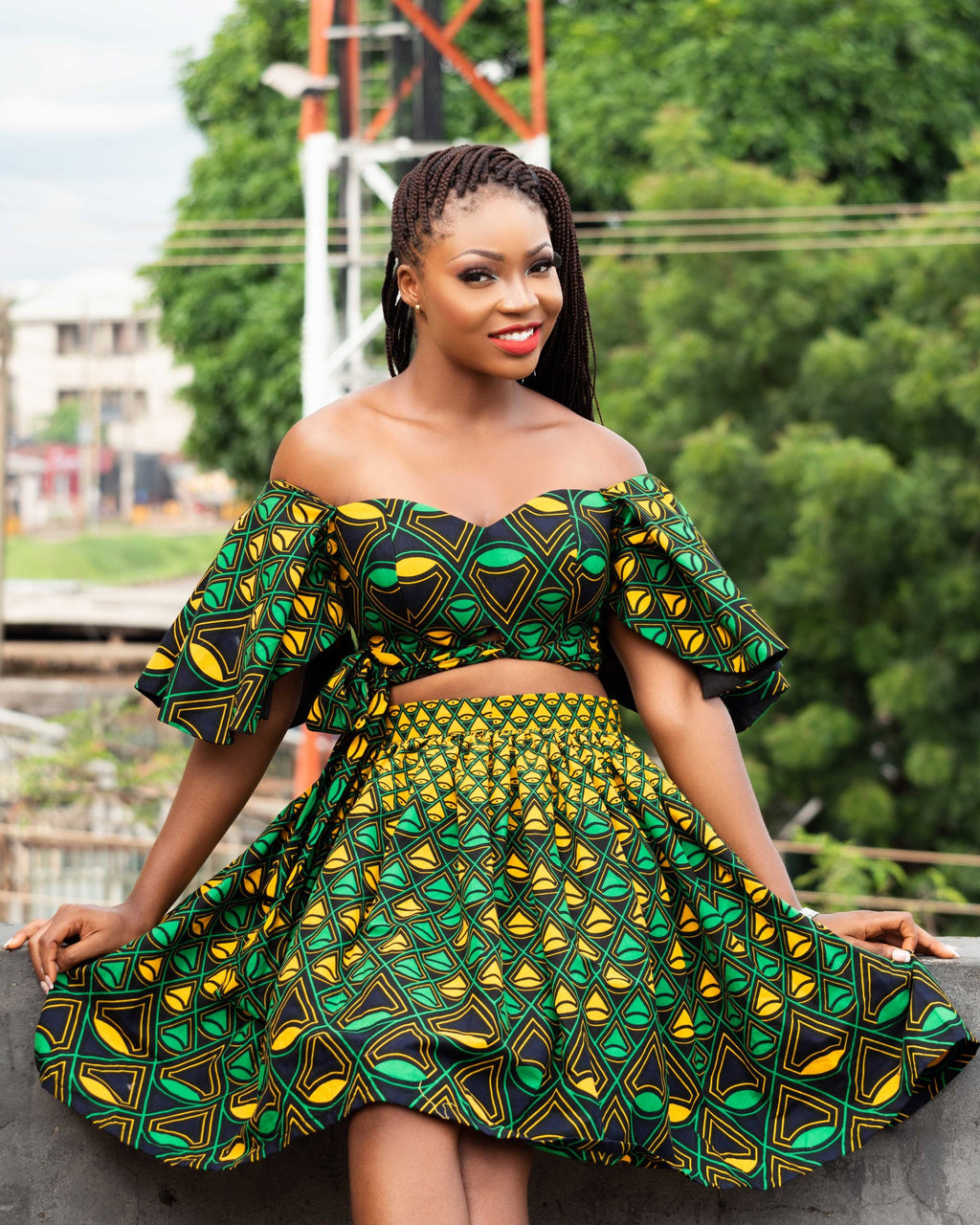 Halima African Print Matching Blouse and Skirt
