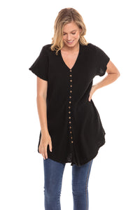 Thai Button Front Short Sleeved Top