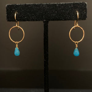 Gold & Turquoise Drop Hoops