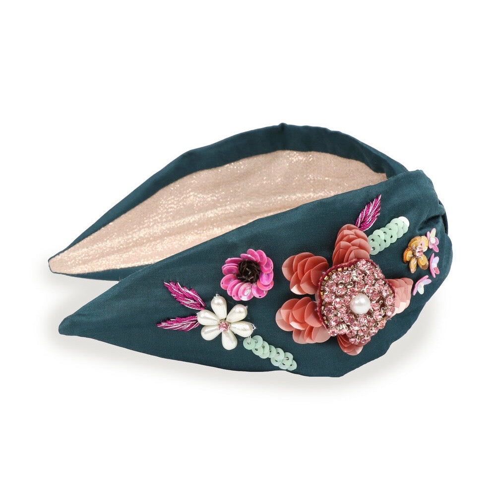 Embroidered Headband Floral-Teal