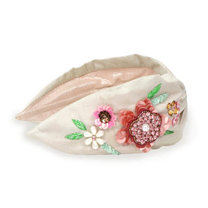 Embroidered Headband Floral-Champagne