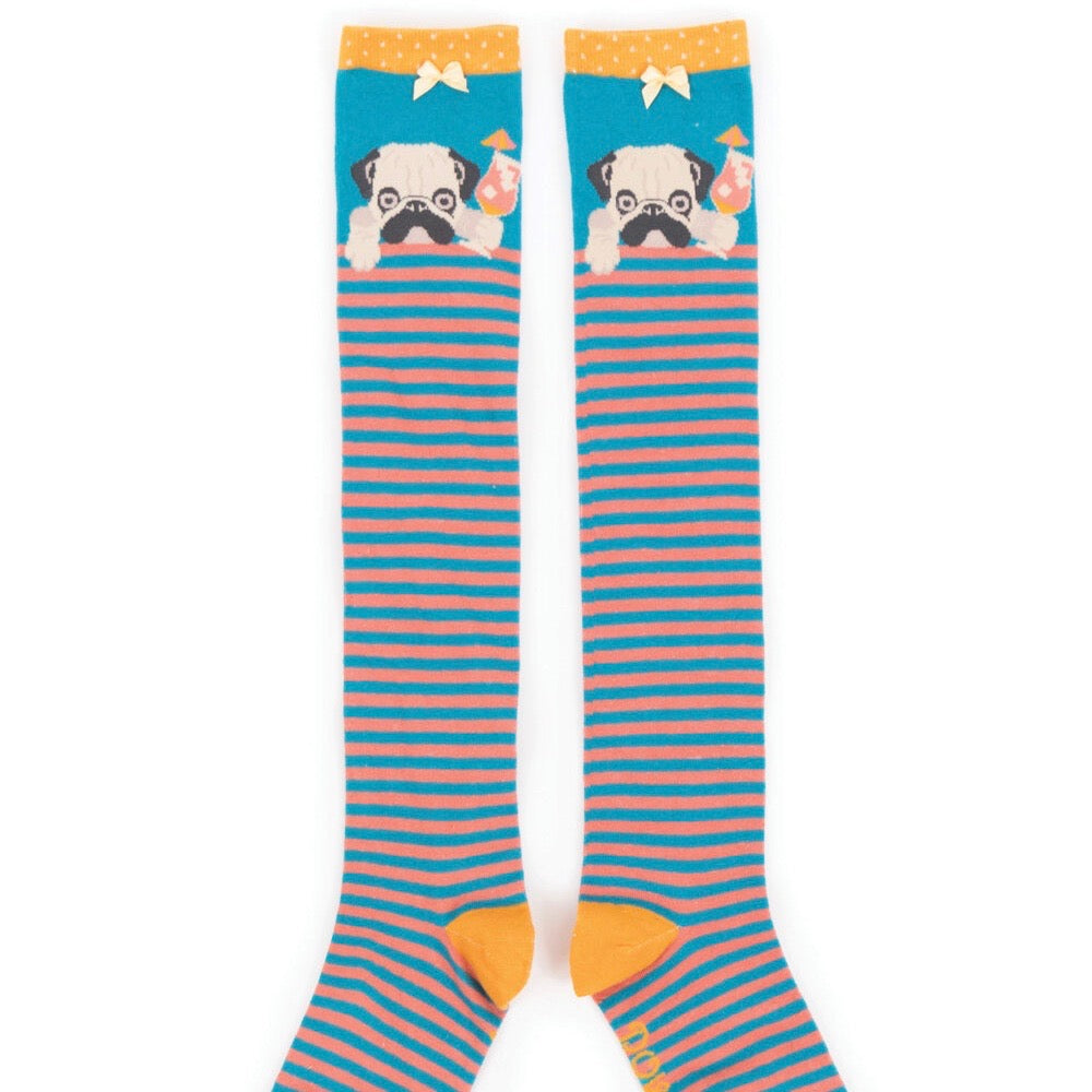 Women's Knee Sock- Cocktail Pug