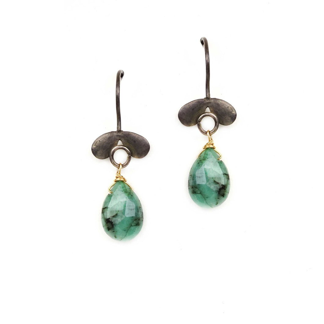 Winged Emerald Drop Earrings