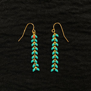 22k Gold Plated Chevron Drop Earring - Aqua