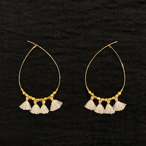 Tassel Teardrop Earring - White