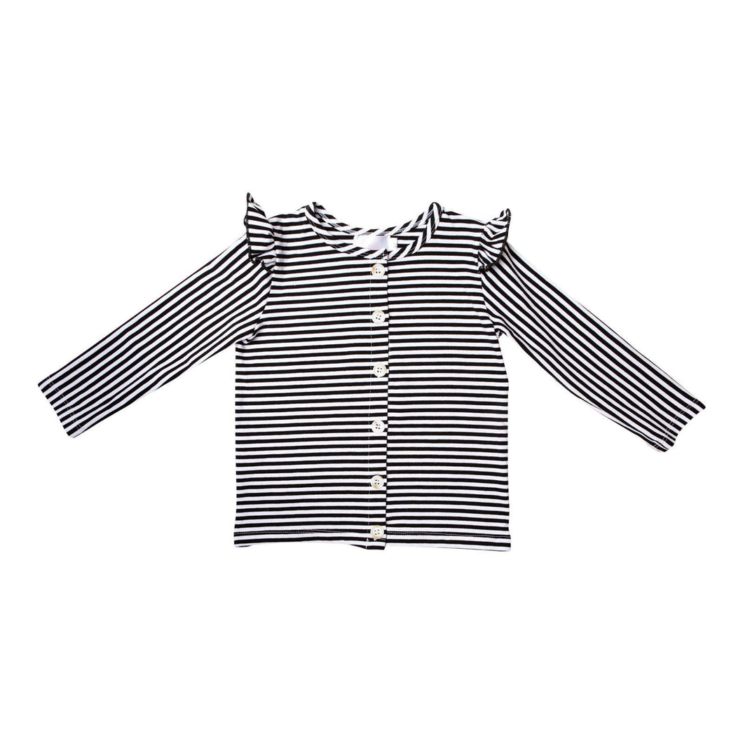 Black & White Stripe Ruffle Cardigan