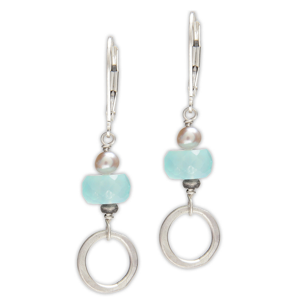 Sterling Silver Earrings with Chalcedony & Grey Pearl