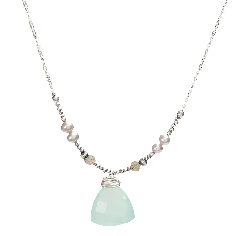 Sterling Silver Necklace with Chalcedony, Labradorite, and Grey Pearl