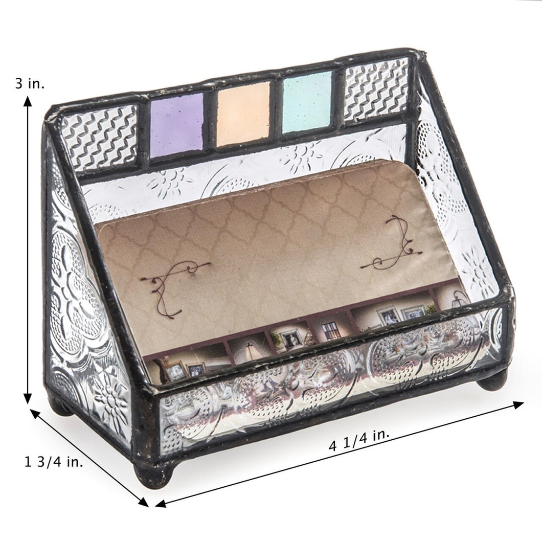 Multi-Colored Glass Business Card Holder