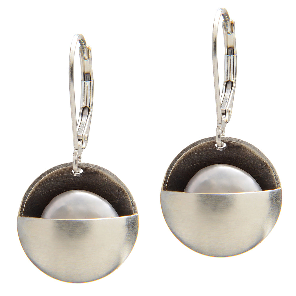 Sterling Silver Earrings with Cupped Moon Pearl