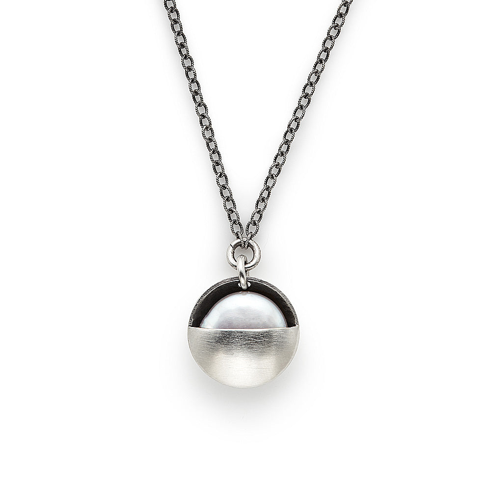 Sterling Silver Necklace with Pearl Cupped Moon Pendant