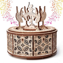 Load image into Gallery viewer, Dancing Ballerinas Music Box ~ Wooden Model/Puzzle Kit