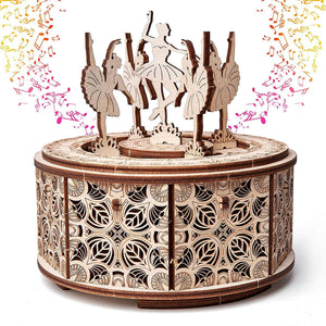 Dancing Ballerinas Music Box ~ Wooden Model/Puzzle Kit