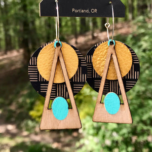 Turquoise and Gold Deco Earring