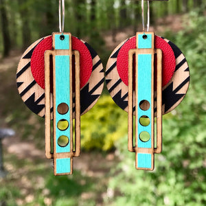 Turquoise and Red Southwestern Wright Earring