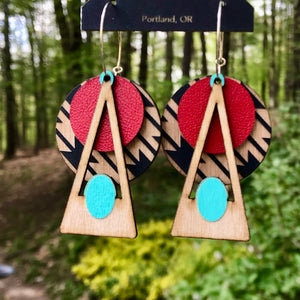 Turquoise On Red Deco Southwestern Earring