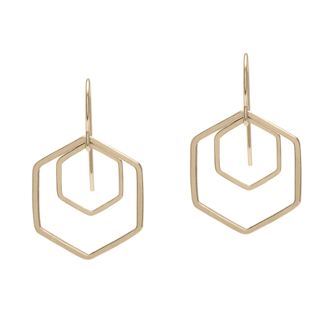 Gold Filled Hexagon Earrings