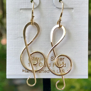 Gold Filled G-clef Earring
