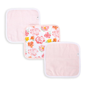 Organic Cotton Rosy Spring Washcloth (set of 3)